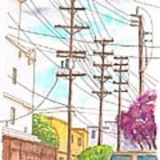 Phone Poles In An Alley - Westwood - California Art Print