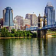 Photo Of Cincinnati Skyline And Roebling Bridge Art Print