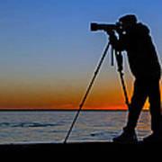 Photographer At Sunset Art Print