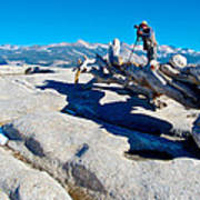 Photographer On Top Of Sentinel Dome In Yosemite Np-ca  Art Print