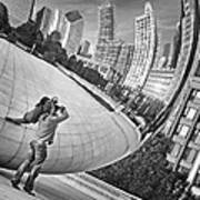 Photographing The Bean - Cloud Gate - Chicago Art Print