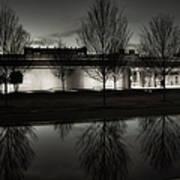 Piano Pavilion Bw Reflections Art Print