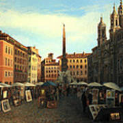 Piazza Navona In Rome Art Print by Kiril Stanchev