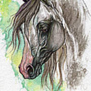Piber Polish Arabian Horse Watercolor Painting Art Print