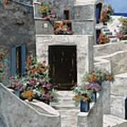 piccole case bianche di Grecia Art Print by Guido Borelli