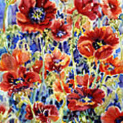 Picket Fence Poppies Art Print