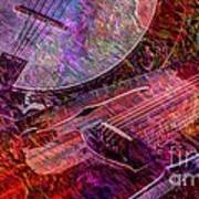 Pickin And A Grinnin Digital Banjo And Guitar Art By Steven Langston Art Print by Steven Lebron Langston