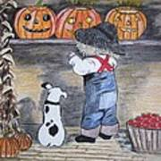 Picking Out The Halloween Pumpkin Art Print