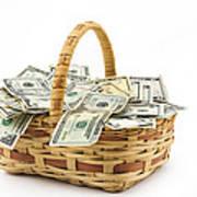 Picnic Basket Full Of Money Art Print