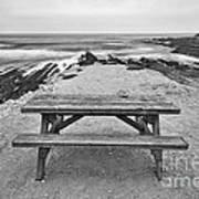 Picnic - Lone Table Overlooking The Ocean In Montana De Oro State Park In Caliornia Art Print