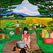 Picnic With The Farmers Art Print