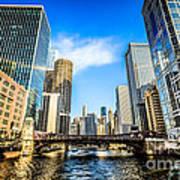 Picture Of Chicago River Skyline At Clark Street Bridge Art Print