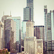 Picture Of Vintage Chicago With Sears Willis Tower Art Print