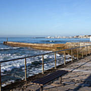 Pier And Promenade By The Atlantic Ocean In Cascais Art Print