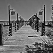 Pier At Fort Wilderness In Black And White Walt Disney World Art Print