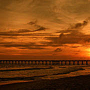 Pier At Sunset Art Print by Sandy Keeton