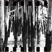 Pier Pilings Black And White Art Print
