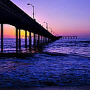 Pier Sunset Ocean Beach Art Print