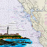 Pigeon Point Lighthouse On Noaa Nautical Chart Art Print