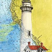 Pigeon Pt Lighthouse Ca Nautical Chart Map Art Art Print