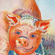 Piggy In Pearls Art Print