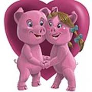 Pigs In Love Art Print