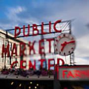 Pike Place Public Market Neon Sign Art Print