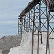 Pile Of Sea Salt Under Conveyor Of Saline Refinery Art Print