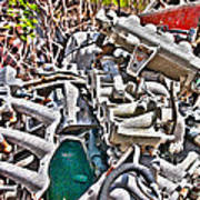 Piles Of Engines - Automotive Recycling Art Print by Crystal Harman