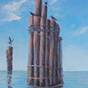 Pilings   Art Print by Rich Kuhn