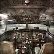 Pilot - Boeing 707  - Cockpit - We Need A Pilot Or Two Art Print by Mike Savad