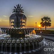 Pinapple Fountain Charleston Sc Sunrise Art Print
