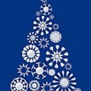 Pine Tree Snowflakes - Dark Blue Art Print