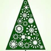 Pine Tree Snowflakes - Green Art Print