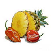 Pineapple And Habanero Peppers  Art Print