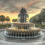 Pineapple Fountain Sunset Art Print