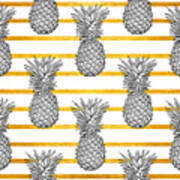 Pineapple Tropical Vector Seamless Art Print