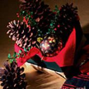 Pinecones Christmasbox Painted Art Print