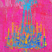 Pink And Blue Chandelier Art Print