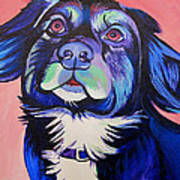 Pink And Blue Dog Art Print