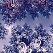 Pink And Blue Morning Frost Fractal Art Print