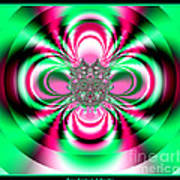 Pink And Green Rotating Flower Fractal 74  Art Print