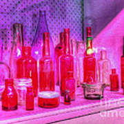 Pink And Red Bottles Print by Kaye Menner