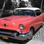 Pink And White Cuban Taxi Art Print