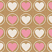 Pink And White Hearts Art Print