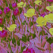 Pink And Yellow Tulips Pop Art Art Print