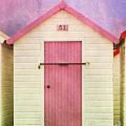 Pink Beach Hut Art Print