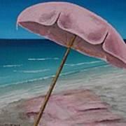 Pink Beach Umbrella Art Print