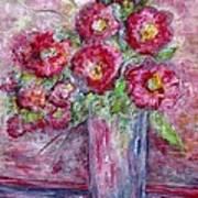 Pink Beauties In A Blue Crystal Vase Art Print