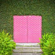 Pink Brick Door Art Print